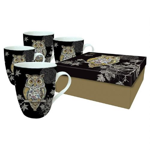 Bug Art Collection Owl Mug Set of 4